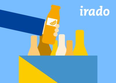 Irado app<br>illustratie voor de animatie
